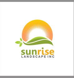 sunrise hill logo design idea vector image