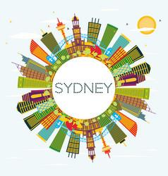 Sydney australia city skyline with color vector