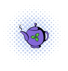 Teapot with tea icon comics style vector image