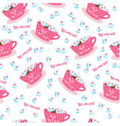 Valentines day seamless pattern with cups hearts vector