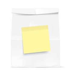 white bag with yellow sticky note vector image