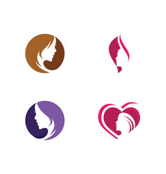 Woman face silhouette character logo icon vector