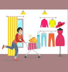 woman shopping in a mall girl vector image