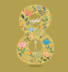 yellow number eight with floral decor and necklace vector image