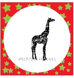 black 8-bit silhouette giraffe standing vector image vector image