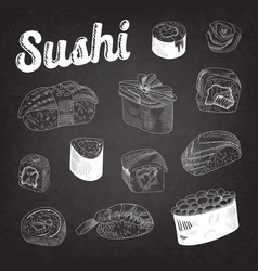 japanese food sushi hand drawn doodle vector image vector image