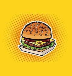 burger pop art vector image vector image