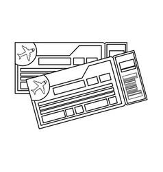 Flight tickets isolated icon vector