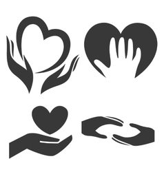 Heart in hand symbol sign icon logo template vector