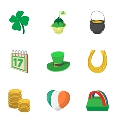 Holiday saint patrick day icons set cartoon style vector