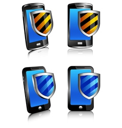 Icons Phones Shield vector image vector image