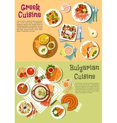 National dishes of Greece and Bulgaria flat icon vector image