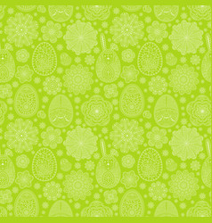 seamless pattern with easter eggs and flowers vector image vector image