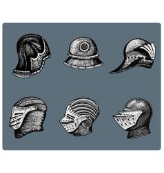 set of medieval symbols battle helmets for knights vector image vector image