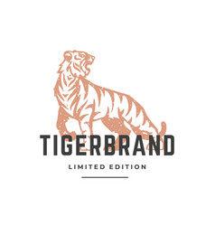 tiger hand drawn logo isolated on white background vector image