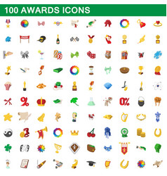 100 awards icons set cartoon style vector image