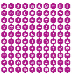 100 childrens parties icons hexagon violet vector image vector image