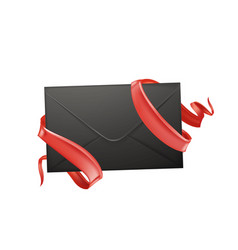 3d envelope ribbon valentine day card vector image vector image