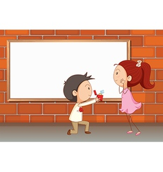 A marriage proposal near the empty board vector image vector image