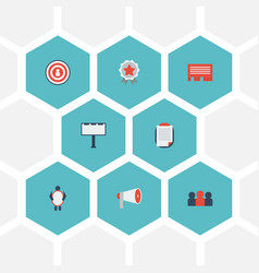 Flat icons man with banner customer summary vector