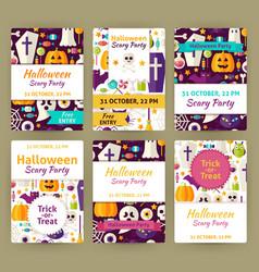 Halloween Flat Party Invitation Template Set vector image
