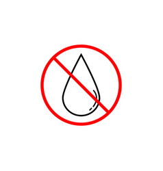 no water drop line icon prohibition sign vector image vector image