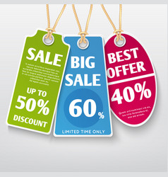 price tags stickers sale labels with discount vector image vector image