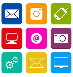 Technology Internet Communication Icons Set vector image vector image