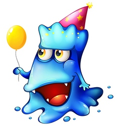 A blue monster celebrating vector image vector image