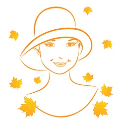 Abstract face autumn girl portrait vector image