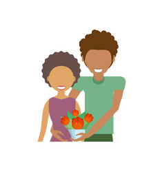 afro couple romantic together vector image vector image