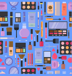 flat style makeup and skincare pattern or vector image vector image