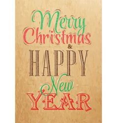 Poster Merry Christmas Happy Kraft color vector image