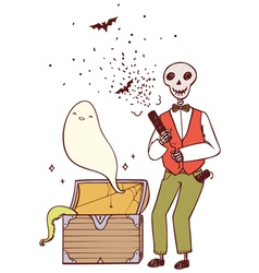 skeleton with party poppers and a ghost vector image vector image