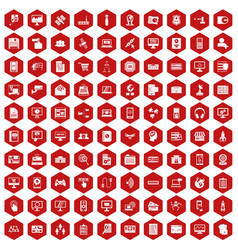 100 database icons hexagon red vector