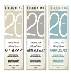 20 years anniversary retro banner set vector
