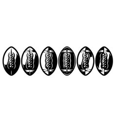 a set stylized american football balls vector image