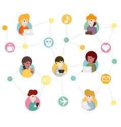 abstract social network scheme vector image