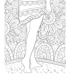 Adult coloring bookpage two legs on the abstract vector