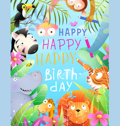 african animals zoo in jungle birthday party vector image