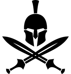 Ancient hellenic helmet and swords stencil vector