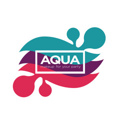 Aqua makeup cosmetic palette logo with abstract vector