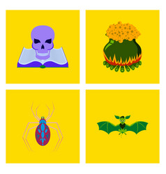 assembly flat book skull potion cauldron spider vector image