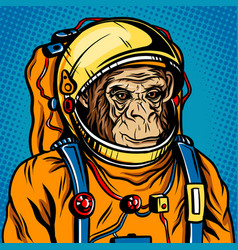 Astronaut monkey space suit pop art style vector