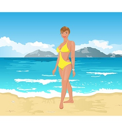 Beach girl summer background vector