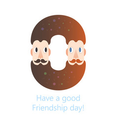 bearded males friendship donut logo - happy vector image