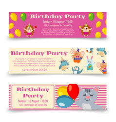 birthday party horizontal banners template with vector image