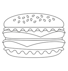 black and white burger hamburger cheeseburger icon vector image
