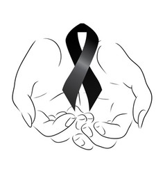 Black mourning ribbon in the hands vector