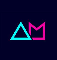 Blue pink colorful alphabet letter logo vector